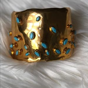 Alexis Bittar gold and turquoise cuff bracelet